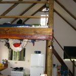 Mezzanine sleeping area above kitchen
